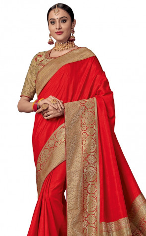 Silk  Saree red and gold color silk fabric with rich jacquard pallu Saree