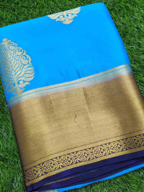 Chiffon saree comes with over all body gold flower butta design with gold plain border