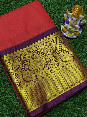 Art silk saree comes with over all body tiny flower embose design with gold multi design border