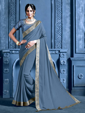 Indian Women Grey Chiffon Jacquard Border Designer Saree