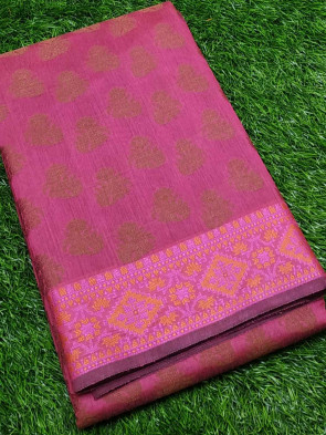 Banaras cotton saree comes with over all body small flower butta design with flower butta gold border