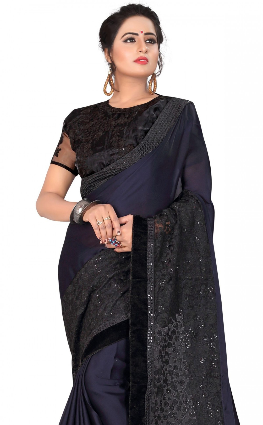 1302011c41 Sudarshan New Georgette Fancy Brocket HEAVY RESHAM & BLACK SIQVENCE  EMBRODERY WORK WITH WORK BLOUSE WITH · Zoom