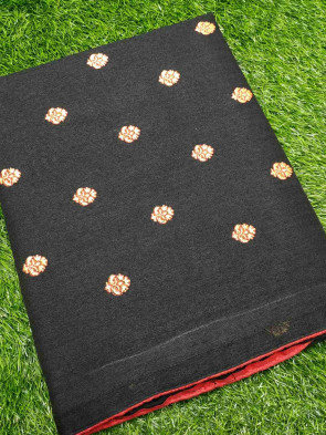 Cotton saree comes with over all body small gold flower butta design and border less saree