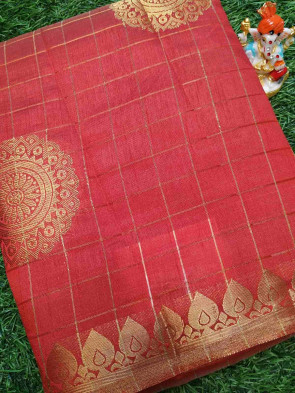 Raw silk saree comes with over all body round gold flower butta design with gold drops border