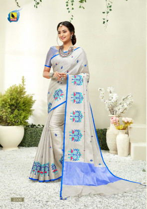 ASHIKA LATEST SILVER LINEN COTTON SAREES