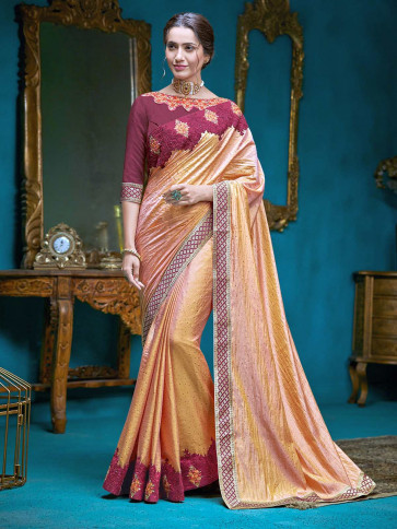 Indian Women Latest Fancy Poly Silk sarees ( ORANGE 9 )