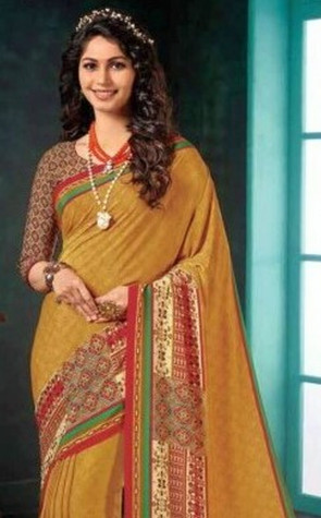 Latest Fancy crepey colla caramel Multi Design Various printed  Synthetic Crape Saree