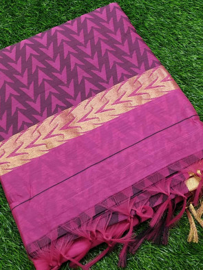 Cotton saree comes with over all body thread work small flower butta design with gold multi border