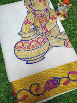 Kerala mundu cotton saree comes with over all body plain design with gold plain gatti border