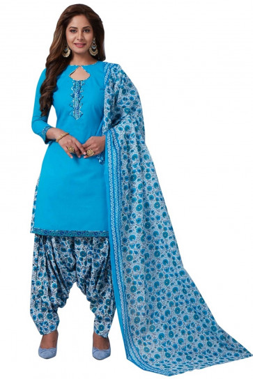 Sudarshan Family Store Ready to wear  Cotton fabic  Salwar kameez with printed pant and dupata-Blue-MPS918-VN-Cotton