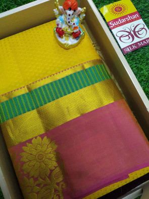 100 % Pure silk saree comes with over all body small tiny flower embose and gold jeri lines with big gold jeri rose flower butta border