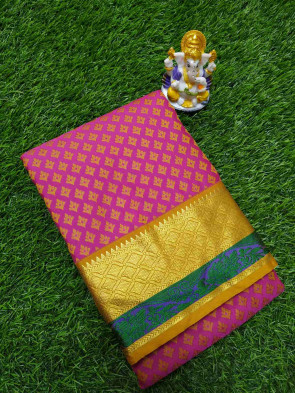 Art silk saree comes with over all body small leaf embose design with gold multi design border