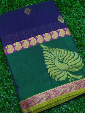 Cotton saree comes with over all body gold small flower butta design with gold peacock border