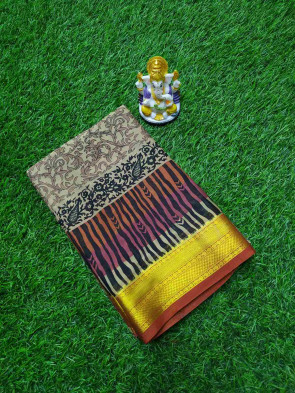 Printed silk saree comes with over all body flwer printeddesign and lines small arrow with gold jari gatti border