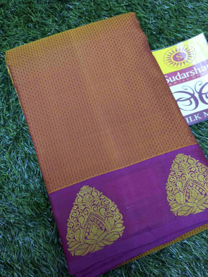 100% Pure Kanchipuram silk sarees comes with over all body tiny leaf butta with multi design flower gold border