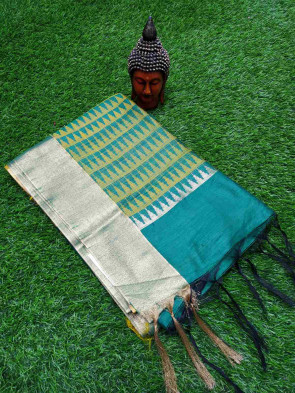 Raw  silk saree comes with over all body plain design with gold jari big border with Running blouse piece