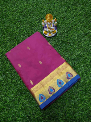 Pure silk kadial saree comes with over all small flower butta with multi design pure gold jeri border