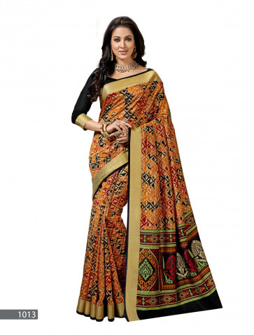 Sudarhan Family Store  Synthetic ( Silk Type ) butter softness mix silk printed  with attached Border saree-Multicolor-MSC1013G-VO-Synthetic Georgette