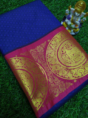Art silk saree comes with over all body tiny flower embose design with multi design gold big border
