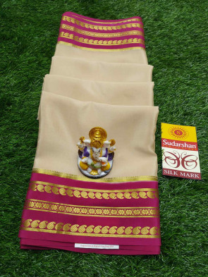 Mysore silk saree comes with over all body plain design and gold small mango with flower with lines border
