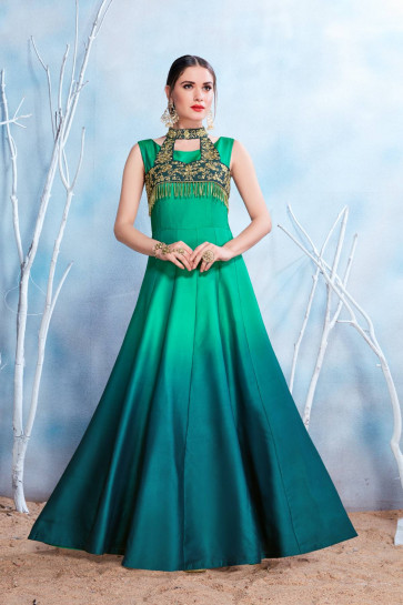 Sudarshan Family Store Ready to wear stitched Gowns-Rama Green-NMPRSA11-VN-Satin, Satin