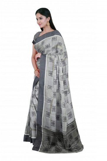 Raw silk saree comes with over all body box and plant butta with small silver border line and plain border