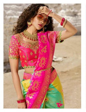 Wedding and Festival collention kesari Vogue-13619 various printed and embriodery work saree