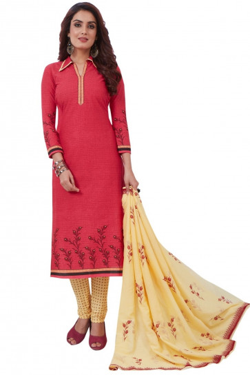 Sudarshan Family Store Ready to wear Cotton Fabric Salwar kameez with printed pant Fany Dupata-Pink-MPS3077-VO-Cotton