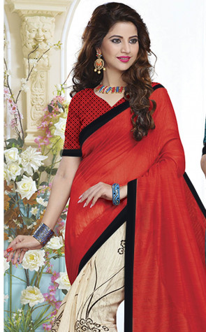 New Trendy Cotton Slub Designer Saree