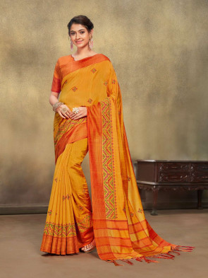 SUDARSHAN NEW NARAYANI Mustard Jute Cotton Embroidered Designer Saree
