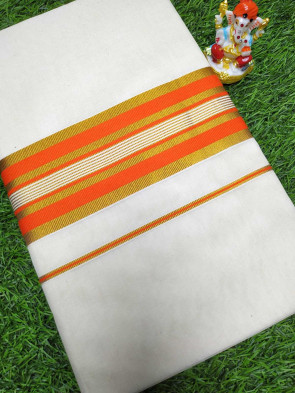 Kerala mundu Cotton saree comes with over all body plain with multi color small border saree