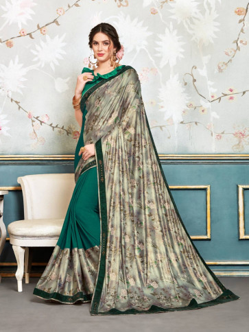 Sudarshan New Green and Silver Chiffon Embellished Fancy Designer Saree