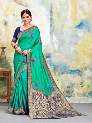 SUDARSHAN NEW Green Poly Silk Embroidered with jaqcard Pallu Heavy Work Saree
