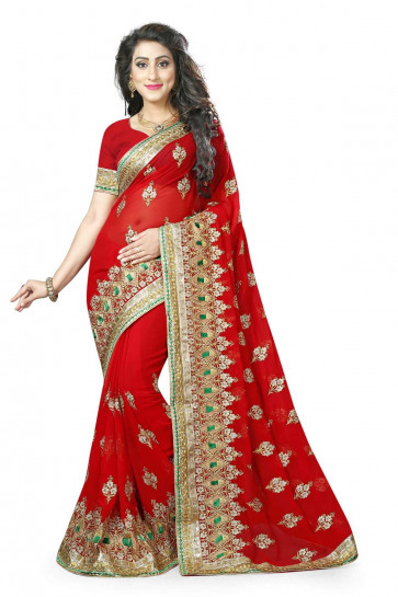 SUDARSHAN LIFE STYLE WOVEN ETHNIC SAREE-Red-LDE571-MM-Georgette
