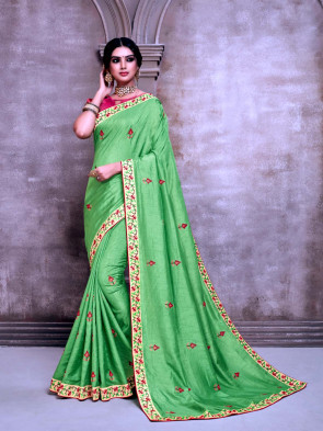 Sudarshan New Green Poly Silk Embroidered Designer Saree