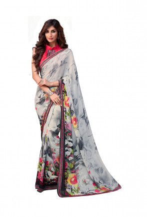Indian Women Grey Georgette Flower Printed and Fancy Lace Border Designer Saree