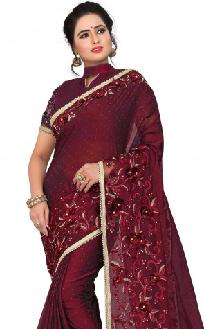 Sudarshan New Georgette Fancy Brocket HEAVY  REBEN & GLITER CODING EMBRODERY WORK WITH STONE & SIRAMIC WITH WORK SLIVS