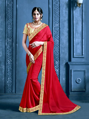 Indian Women Red Chiffon Jacquard Border Designer Saree