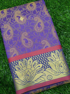 Art silk saree comes with over all body mango embose design with gold flower butta border
