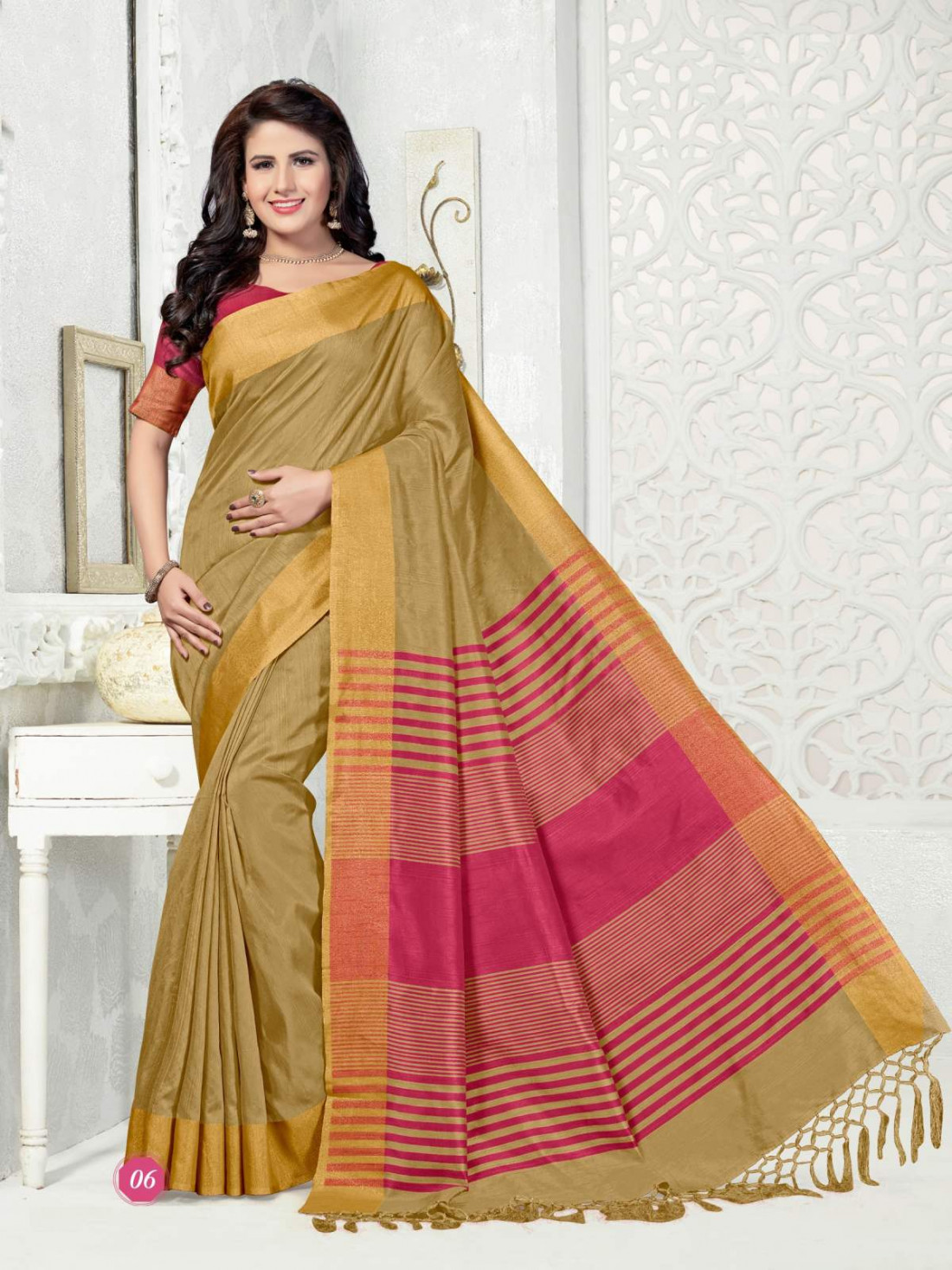 acd20afb3ea Sudarshan Family Store Silk Blend Plain Design overall body gold and Silver  border with Running Self
