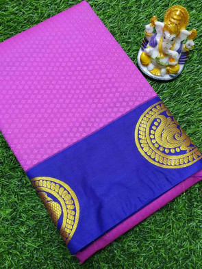 Art silk saree comes with over all body tiny flower embose design with round gold peacock butta border