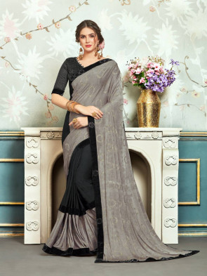 Sudarshan New Black and Grey Chiffon Embellished Fancy Designer Saree
