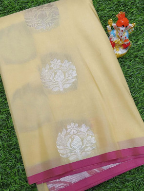 Art silk saree comes with over all body silver flower butta design and border less saree