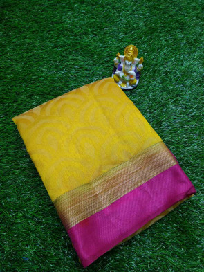 Raw  silk saree comes with over all body rainbow design with plain border running blouse saree