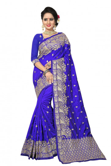 Sudarshan Art Silk Zari Work  with Embroidery work sarees-Purple-LDE954-VR-Embroidery, Art Silk