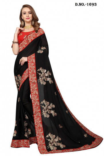 Sudarshan New Georgette Fancy Brocket HEAVY CORDING+BADLA JARI  EMBROIDERY WORK WITH HEAVY WORK BLOUSE-Black-NARI1693-VR-PURE SATIN