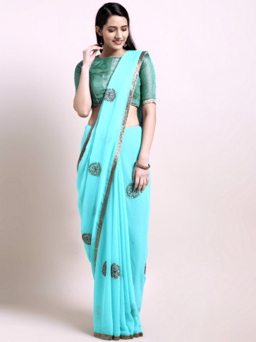 Indian Women Latest Embroidered Chiffon Georgette Fancy Saree