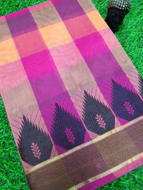 Cotton saree comes with over all body big checks design and flower butta with thread plain border