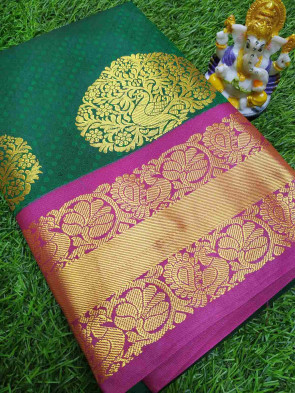Art silk saree comes with over all body tiny flower embose and gold peacock flower butta design with multi design gold border