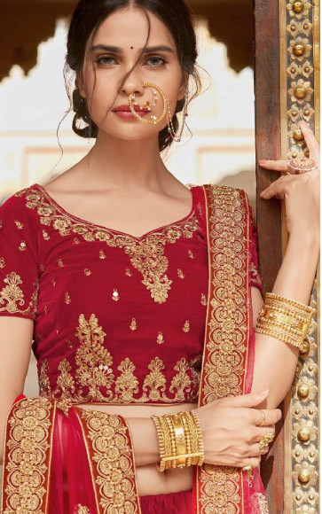 New Grand Wedding and Festival collection  Semi Stitiched Lehenga with Unstitiched choli -SATIN SILK